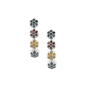 Cognac, Yellow Diamond Earrings with Blue Diamond in Sterling Silver 0.50ct