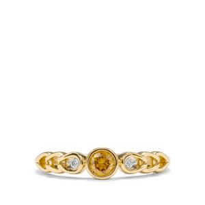 Natural Coloured Diamond Ring with White Diamond in 18K Gold 0.26ct