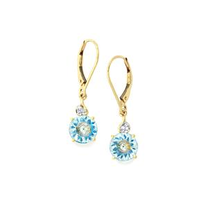 Lehrer KaleidosCut Sky Blue Topaz, Neon Apatite Earrings with Diamond in 10K Gold 3.80cts