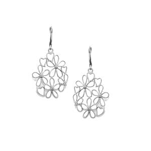 White Topaz Floral Filigree Earrings in Sterling Silver 0.15ct