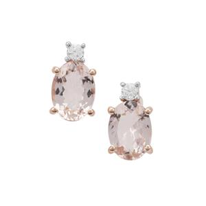 Cherry Blossom™ Morganite Earrings with White Zircon in 9K Rose Gold 1.45cts