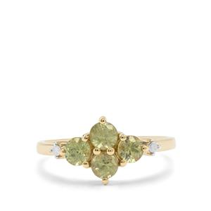 Green Dragon Demantoid Garnet & Diamond 9K Gold Ring ATGW 1.30cts