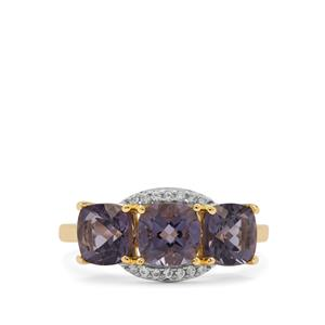 Blueberry Quartz Ring with White Zircon in 9K Gold 2.70cts