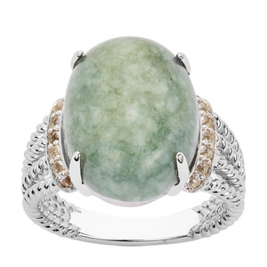 13.21ct Moss-in-Snow Jade & White Topaz Sterling Silver Ring