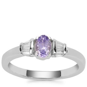Tanzanite Ring with White Zircon in Sterling Silver 0.72ct