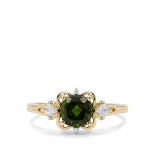 Chrome Diopside & White Zircon 9K Gold Ring ATGW 1.27cts