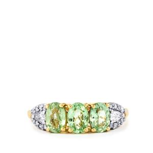Paraiba Tourmaline Ring with Diamond in 18k Gold 1.54cts