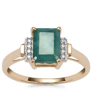 Grandidierite Ring with Diamond in 10K Gold 1.70cts