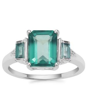 Fern Green Topaz Ring with White Zircon in Sterling Silver 3.64cts