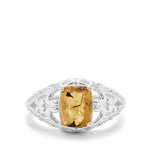 0.73ct Burmese Amber Sterling Silver Ring