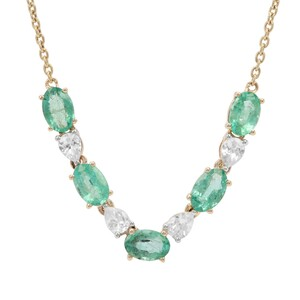 Zambian Emerald Necklace with White Zircon in 9K Gold 2.79cts