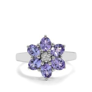 Tanzanite & White Topaz Sterling Silver Ring ATGW 2.19cts