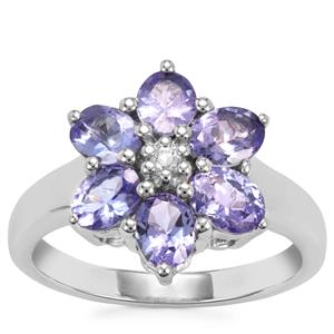 Tanzanite Ring with White Topaz in Sterling Silver 2.19cts