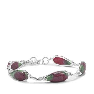 Ruby-Zoisite Bracelet in Sterling Silver 31.76cts