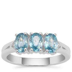 Ratanakiri Blue Zircon Ring with White Zircon in Sterling Silver 2.25cts