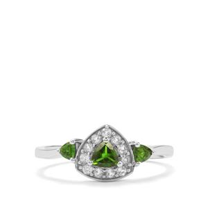 Chrome Diopside & White Topaz Sterling Silver Ring ATGW 0.59cts