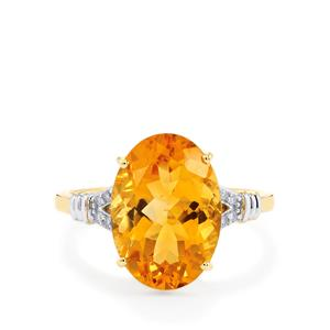 Diamantina Citrine Ring with Diamond in 9K Gold 5.23cts