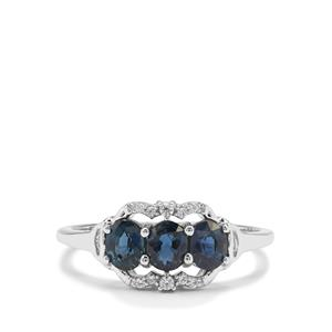 Nigerian Blue Sapphire Ring with White Zircon in 9K White Gold 1.03cts