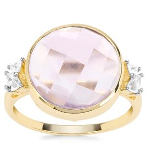 Rose De France Amethyst Ring with White Zircon in 9K Gold 7.34cts
