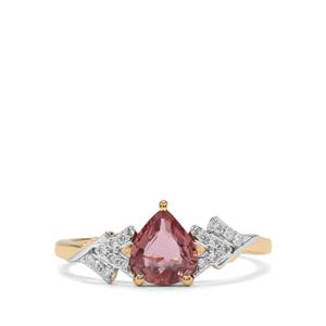 Padparadscha Sapphire Ring with Diamond in 18K Gold 1.03cts