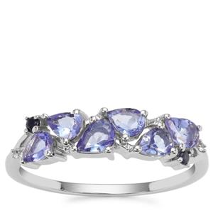 AA Tanzanite, Ceylon Blue Sapphire Ring with White Zircon in 9K White Gold 0.86ct