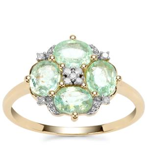 Paraiba Tourmaline Ring with Diamond in 10k Gold 1.27cts