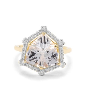 Alpine Cut Crystal Quartz & White Zircon 9K Gold Ring ATGW 4.76cts