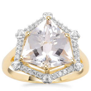 Alpine Cut Crystal Quartz Ring with White Zircon in 9K Gold 4.76cts