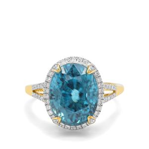 Ratanakiri Blue Zircon & Diamond 18K Gold Lorique Ring MTGW 11.88cts
