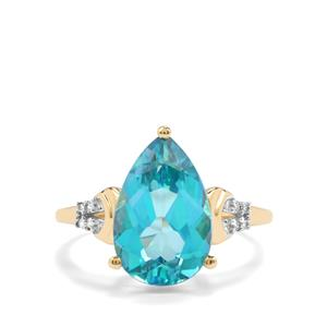 Batalha Topaz Ring with Diamond in 10K Gold 5.07cts
