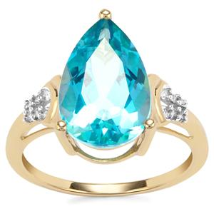 Batalha Topaz Ring with Diamond in 9K Gold 5.07cts