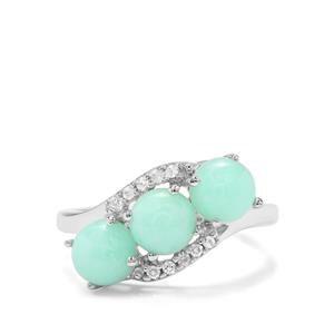 Prase Green Opal & White Zircon Sterling Silver Ring ATGW 2.51cts