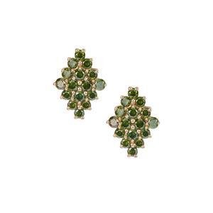 Green Diamond Earrings in 9K Gold 1ct