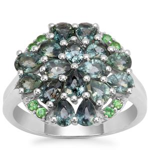 Natural Umba Sapphire Ring with Tsavorite Garnet in Sterling Silver 3.37cts