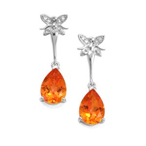Padparadscha Quartz Earrings with White Topaz in Sterling Silver 3.37cts