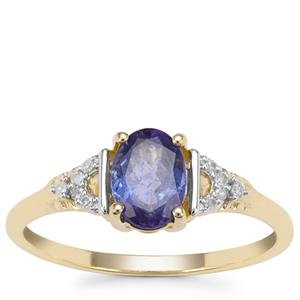 AAA Tanzanite Ring with Diamond in 9K Gold 0.94ct