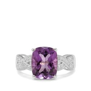 Moroccan Amethyst & White Zircon Sterling Silver Ring ATGW 3.80cts
