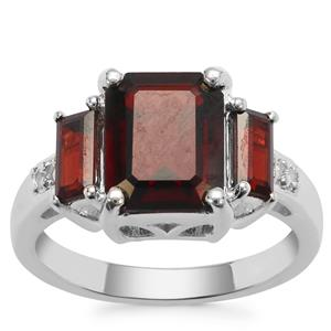 Gooseberry Grossular Garnet Ring with White Zircon in Sterling Silver 5.03cts