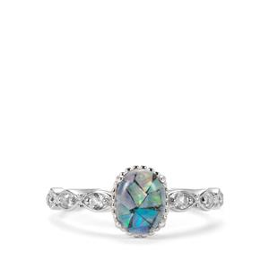 Mosaic Opal & White Topaz Ring in Sterling Silver