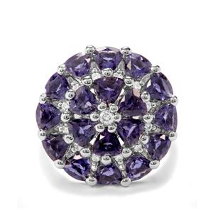 Bengal Iolite, Tanzanite & White Zircon Sterling Silver Ring ATGW 3.64cts