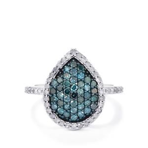 Blue Diamond Ring with White Diamond in Sterling Silver 1.05ct