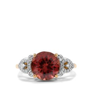 Zanzibar Zircon Ring with Diamond in 18K Gold 4.98cts