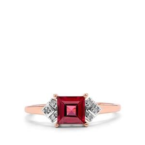 Malawi Garnet Ring with Diamond in 10K Rose Gold 1.09cts