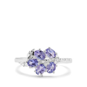 AA Tanzanite Ring with White Zircon in Sterling Silver 1.05cts
