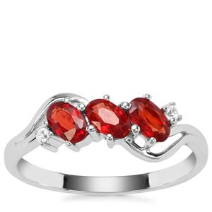 Songea Ruby Ring with White Zircon in 9K White Gold 0.98cts