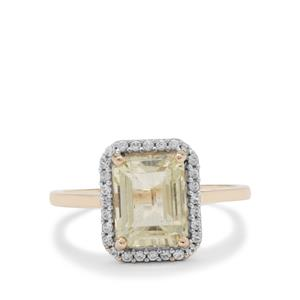 Minas Gerais Canary Kunzite Ring with White Zircon in 9K Gold 3.25cts