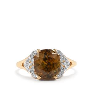 Ambilobe Sphene Ring with Diamond in 18k Gold 4.28cts