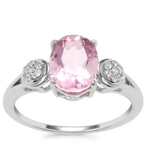 Natural Pink Fluorite Ring with White Topaz in Sterling Silver 2.35cts