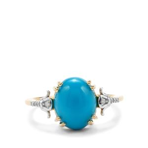 Sleeping Beauty Turquoise Ring with Diamond in 9K Gold 3.14cts