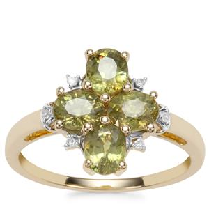 Ambanja Demantoid Garnet Ring with Diamond in 10k Gold 1.93cts